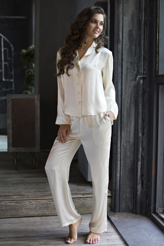 Кремовая шелковая пижама (Женские пижамы)