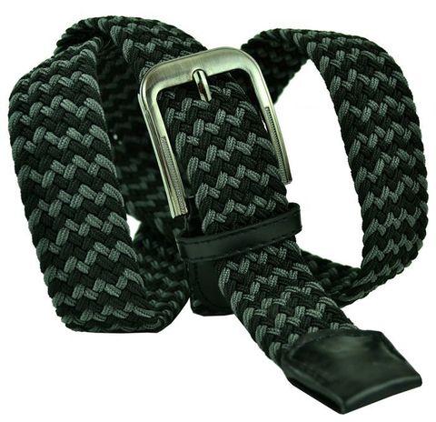 Ремень текстильный резинка мужской брючный двухцветный чёрно-серый  большого размера 35 мм 35Rezinka-B-013