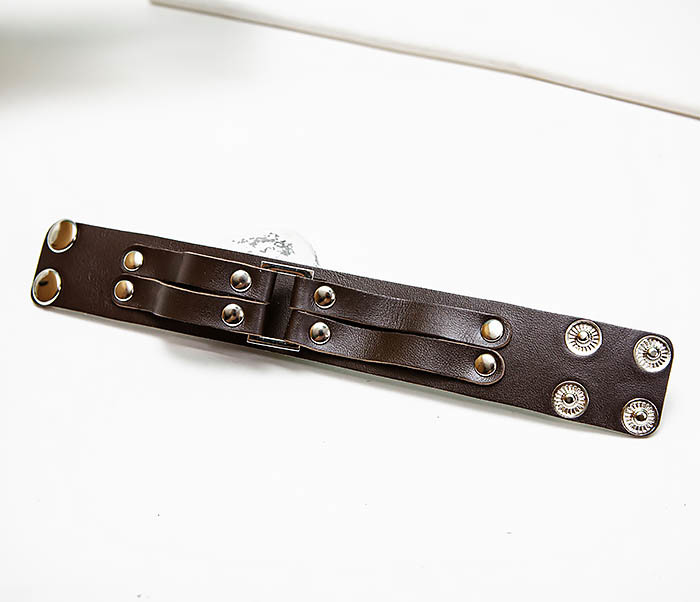BL798-2 Кожаный браслет напульсник коричневого цвета