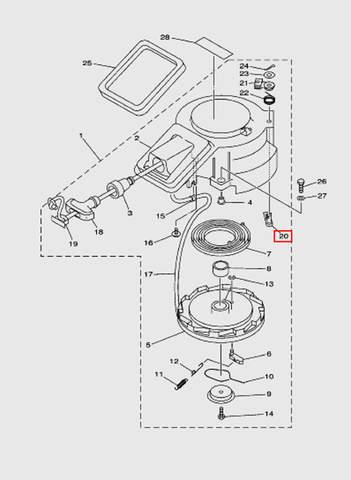 Стопер стартера  для лодочного мотора T15, OTH 9,9 SEA-PRO (7-20)