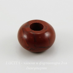 Бусина Яшма Красная, рондель, 14х8 мм