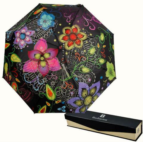 Купить онлайн Зонт складной Barbarina 2301 Fiori neri в магазине Зонтофф.