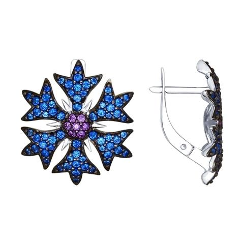 Серьги из серебра с синими и сиреневыми фианитами