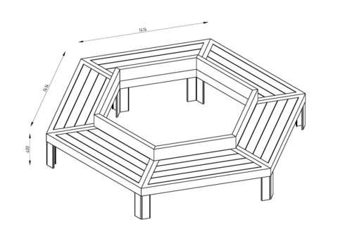 Скамья шестиугольная ГАЛАКТИКА