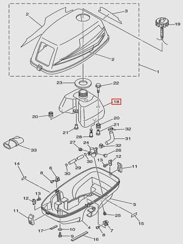 Бак топливный для лодочного мотора T3 SEA-PRO (1-18)