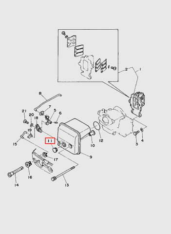 Заглушка воздухозаборника  для лодочного мотора T15, OTH 9,9 SEA-PRO (4-11)