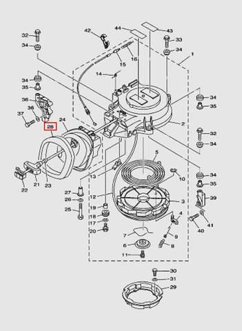 Демпфер отбойника стартера для лодочного мотора T40 Sea-PRO (7-28)