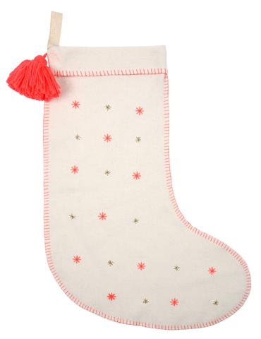 Рождественский носок, вышитый звездами, войлочный
