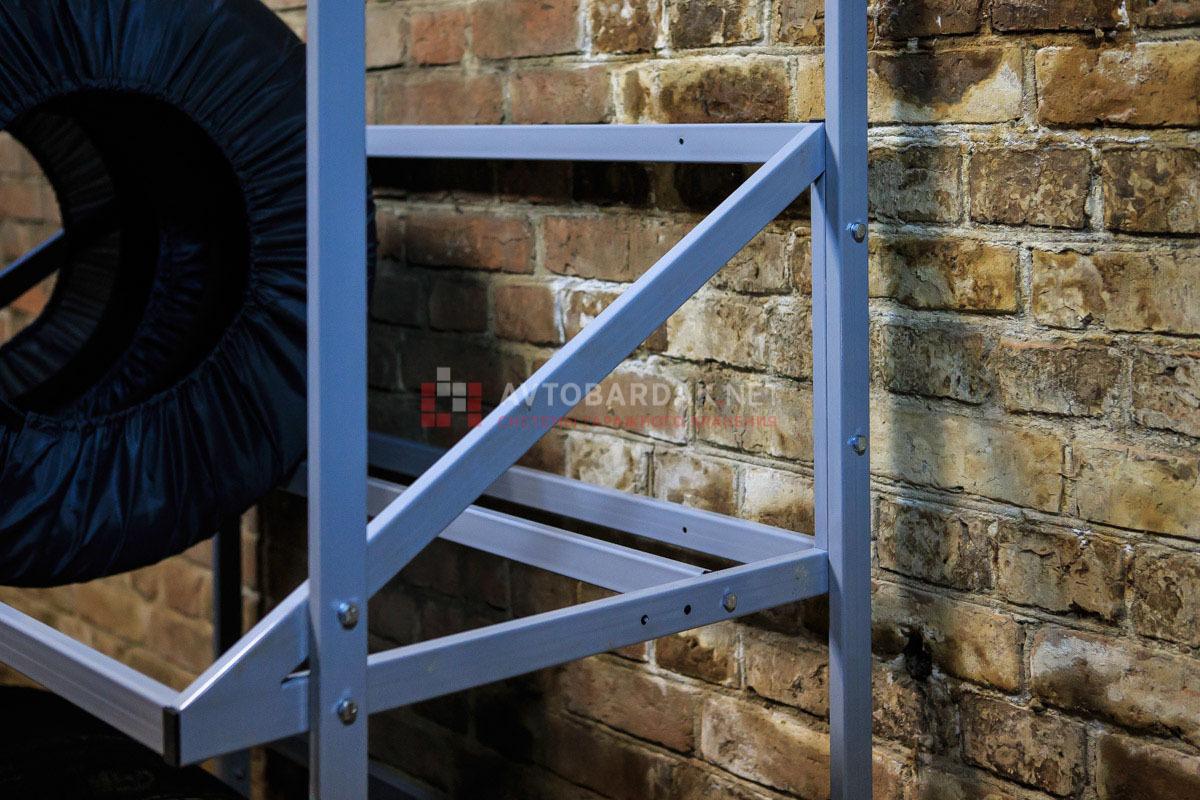 Напольный стеллаж для 2 комплектов колес из профильной трубы
