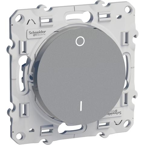 Выключатель одноклавишный двухполюсный (схема 2) 16 АХ, 250 В. Цвет Алюминий. Schneider Electric(Шнайдер электрик). Odace(Одес). S53R262