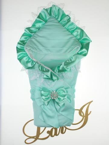 Демисезонный конверт одеяло на выписку из роддома Милена (ментоловый)
