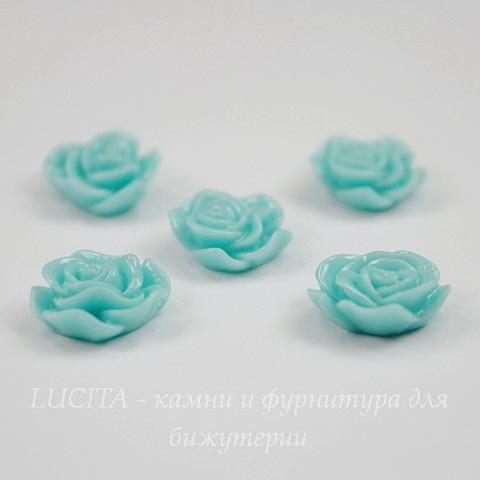 """Кабошон акриловый """"Роза"""", цвет - голубая мята, 13х11 мм, 5 штук"""