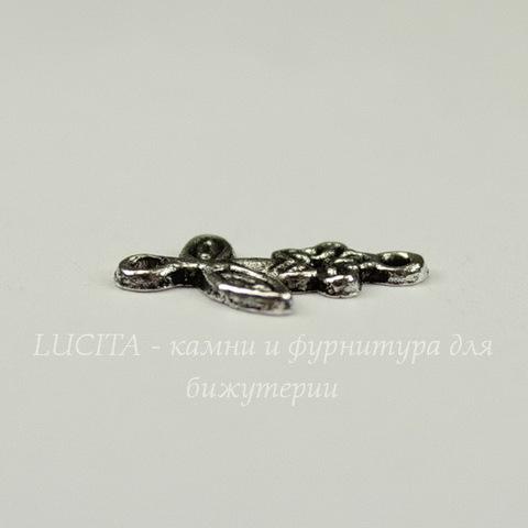 """Коннектор """"Цветочек"""" (1-1) 16х10 мм (цвет - античное серебро)"""
