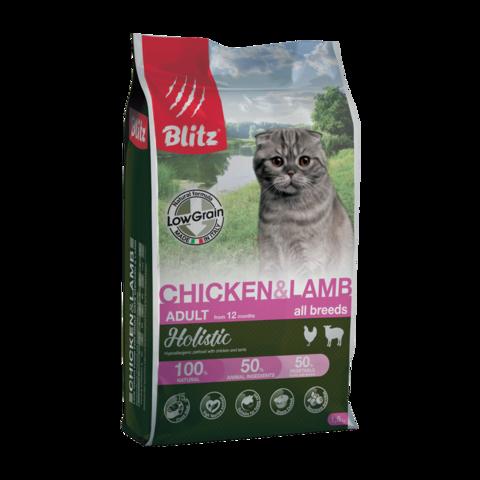 Blitz Holistic Сухой корм для кошек с курицей и ягненком (низкозерновой)