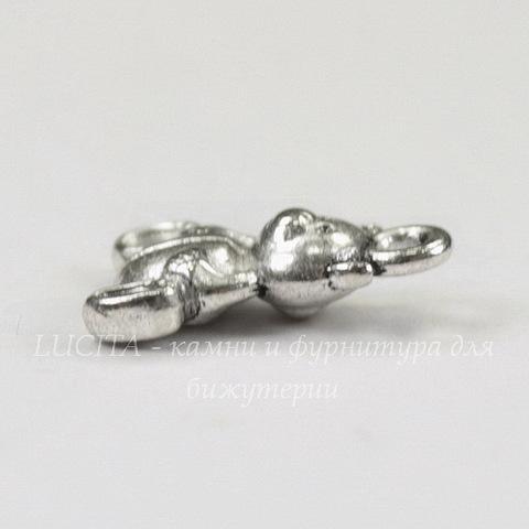 """Подвеска 3D """"Мишка"""" 16х10 мм (цвет - античное серебро)"""
