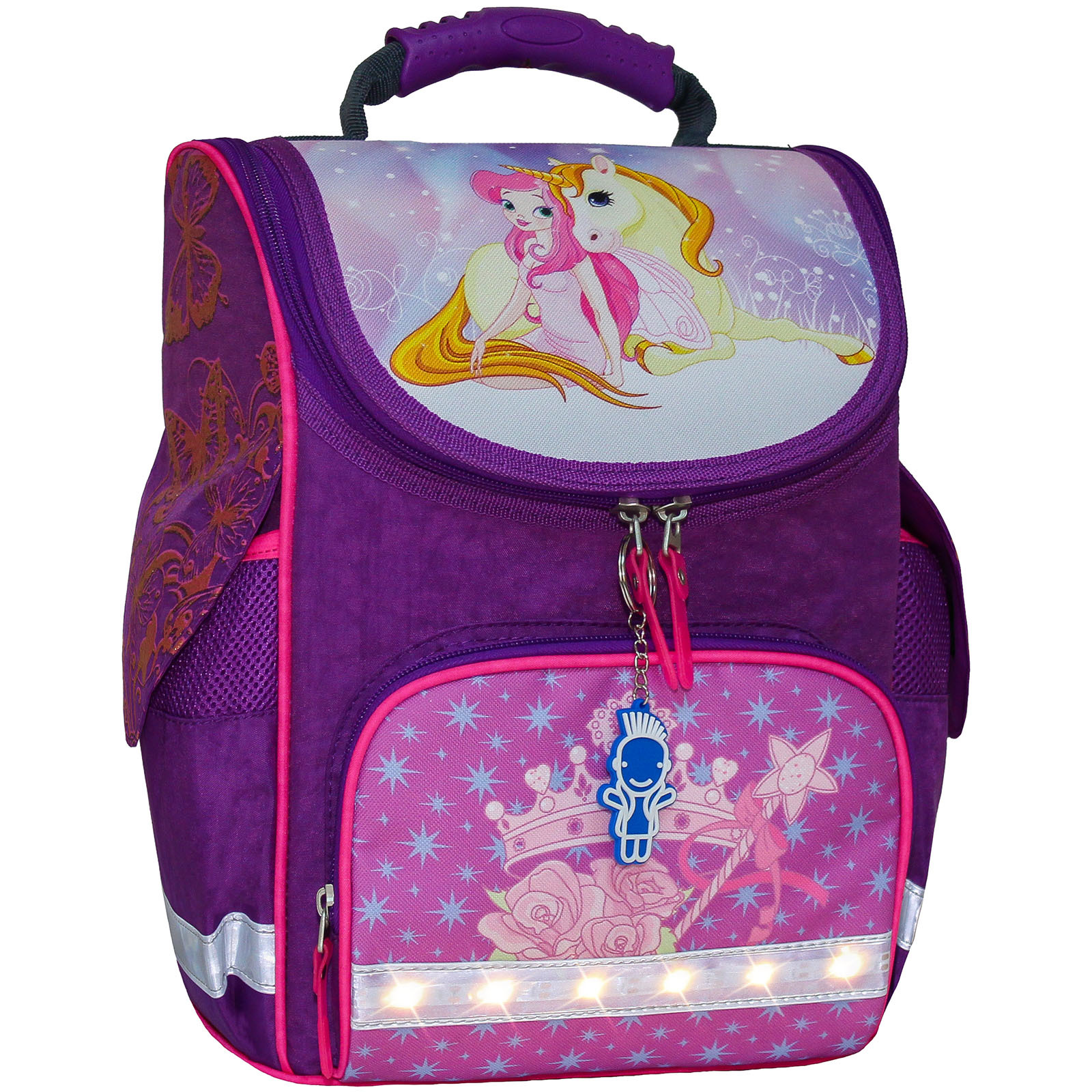 Школьные рюкзаки Рюкзак школьный каркасный с фонариками Bagland Успех 12 л. фиолетовый 387 (00551703) IMG_7214_арт387_блеск.jpg