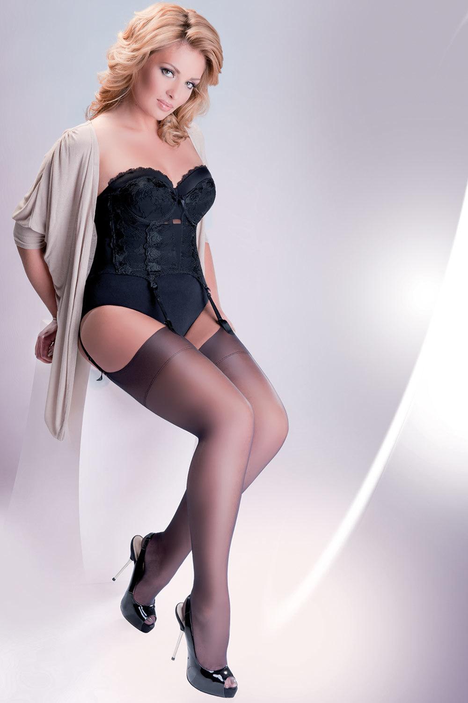 Черные чулки Stockings Cher (Чулки под пояс)