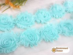 Шифоновые шебби-розы светло-голубые диаметр 6 см