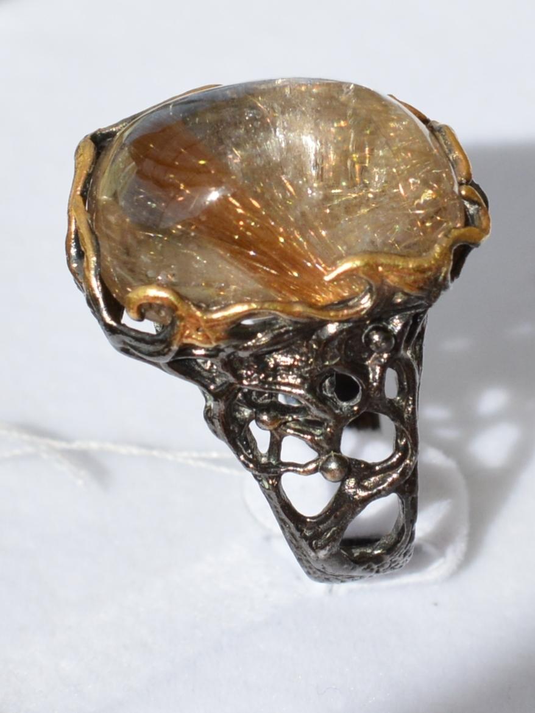 Волосатик малый (серебряное кольцо с позолотой)