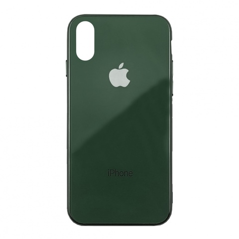Чехол iPhone XS MAX Glass Case Logo /green/