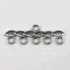 """Коннектор """"Листья"""" (1-5) 27х9 мм (цвет - античное серебро)"""