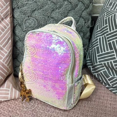 Рюкзак белый с пайетками меняющий цвет Перламутровый-Серебристый Блестящий и брелок Единорог