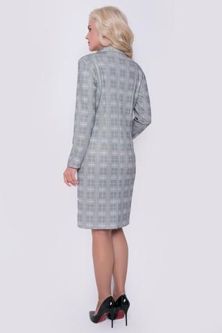 Хит сезона! Элегантное платье в клетку с отложным воротом. По переду имитация двубортного фасона. Рукав длинный. Длина: 100 см