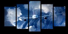 """Модульная картина """"Самолет в небе"""""""