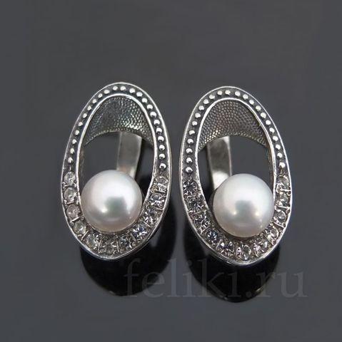 серьги из серебра с белым жемчугом, h=18 мм