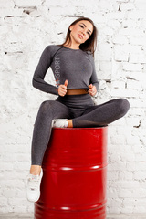 Женский топ Ryderwear Seamless Long Sleeve Crop -Charcoal Marle