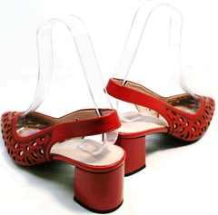 Женские туфли с острым носом красные босоножки на толстом каблуке G.U.E.R.O G067-TN Red.