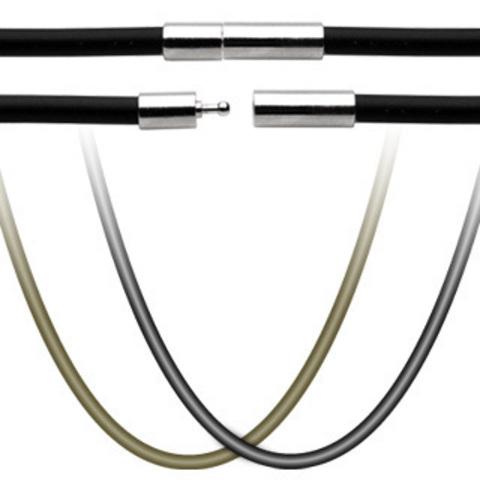 Шнур на шею (чокер) каучуковый чёрный 3 мм 52 см с замком SPIKES SSN-7162