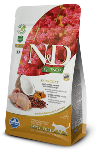 Сухой беззерновой корм Farmina N&D GF Cat Quinoa Skin&Coat Quail