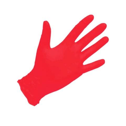 Перчатки нитриловые красные 100 шт S