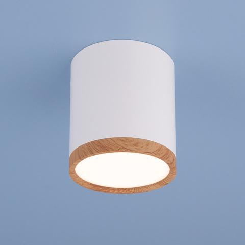 Накладной потолочный  светодиодный светильник DLR024 6W 4200K белый матовый/светлый дуб