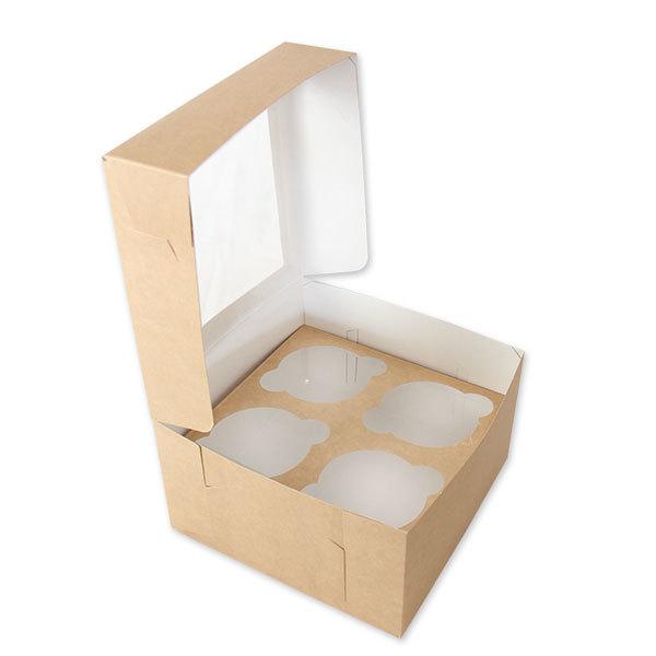 Коробка на 4 капкейка c окном