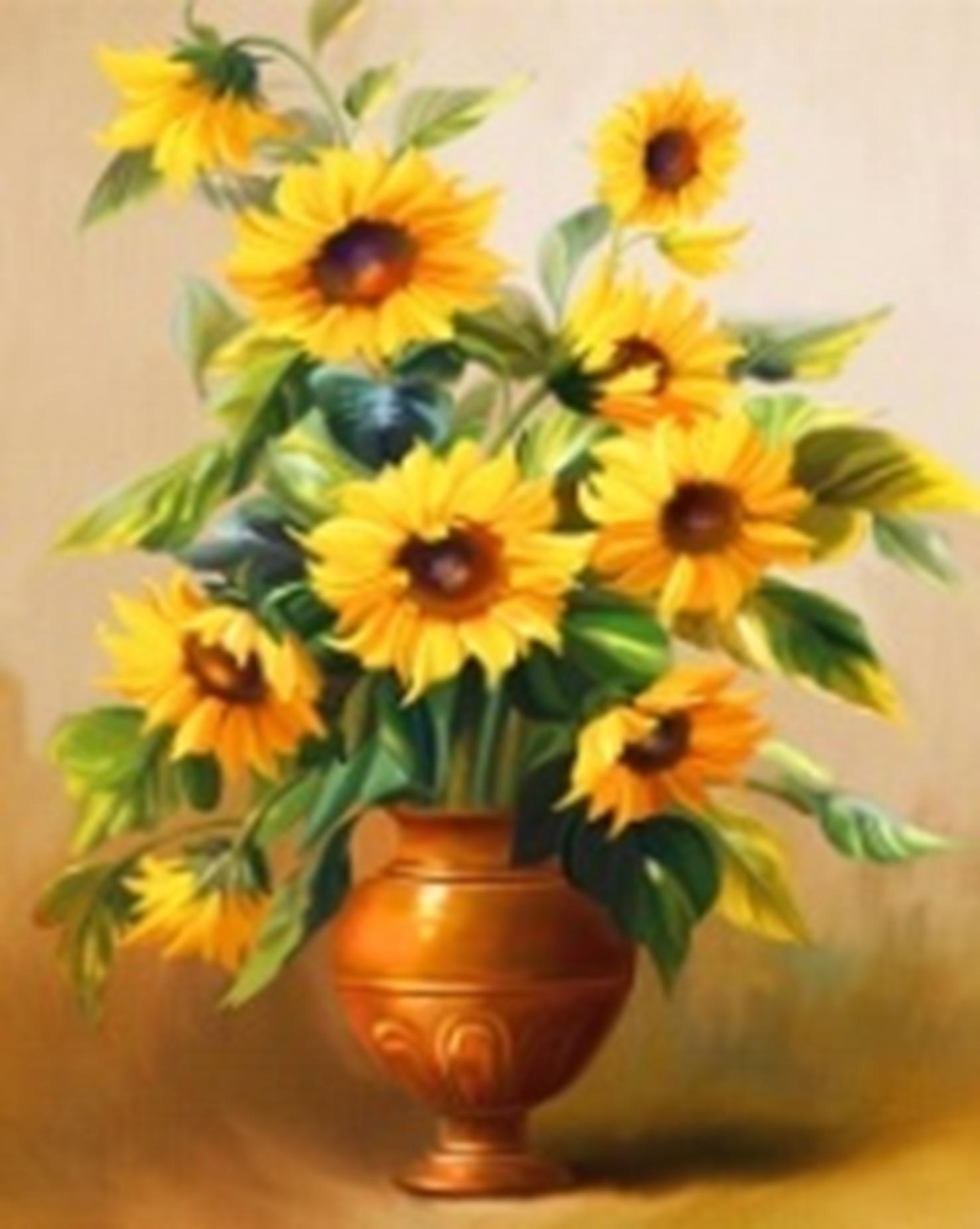 Картина раскраска по номерам 30x40 Желтые цветы (арт ...