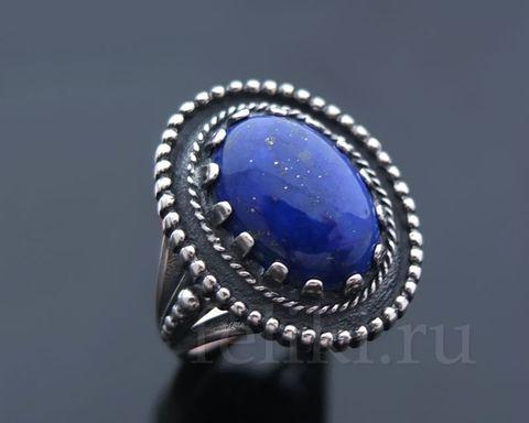 кольцо серебряное с афганским лазуритом