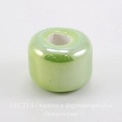Бусина фарфоровая, цвет - салатовый, 17х14 мм