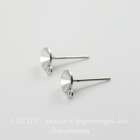 Пуссеты - гвоздики с сеттингом для страза 6 мм (цвет - платина) (без заглушек)