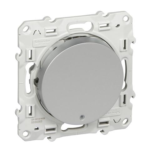 Выключатель/переключатель одноклавишный с подсветкой на 2 направления(проходной) 10 АХ, 250 В. Цвет Алюминий. Schneider Electric(Шнайдер электрик). Odace(Одес). S53R263
