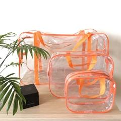 Прозрачная сумка в роддом с 2 косметичками, оранжевая, вид 1