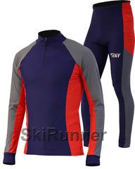 Раздельный лыжный гоночный комбинезон Ray Race Blue-Grey-Red