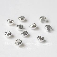 Бусина для маскировки кримпа 3 мм (цвет - серебро), 10 штук