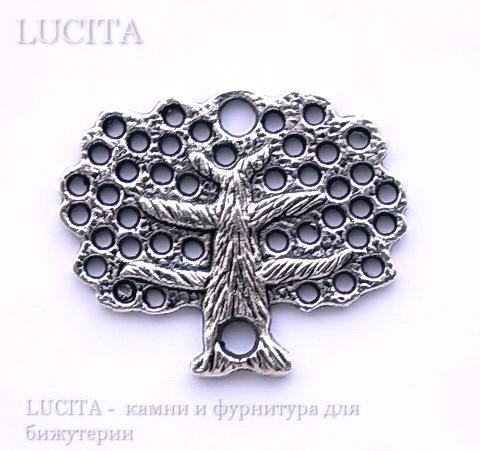 """Коннектор """"Дерево"""" (1-1) 30х25 мм (цвет - античное серебро)"""