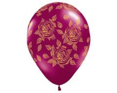 Воздушный шар с Розами (Бордовый)
