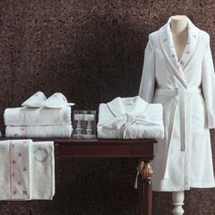 НАБОР Piccolo розовый махровый женский халат тапочки и полотенце  Tivolyo Home (Турция)