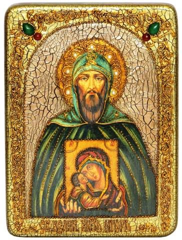 Инкрустированная икона Святой Благоверный великий князь Игорь 29х21см на натуральном дереве в подарочной коробке
