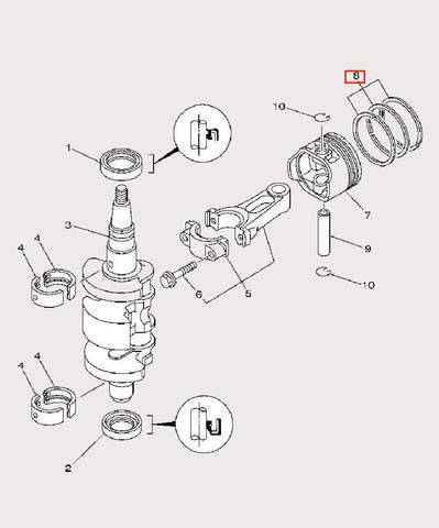 Кольцо поршневое верхнее для лодочного мотора F9,9 Sea-PRO (3-8-3)