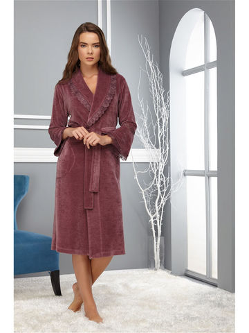 Женский велюровый халат 0359 фиолетовый NUSA Турция